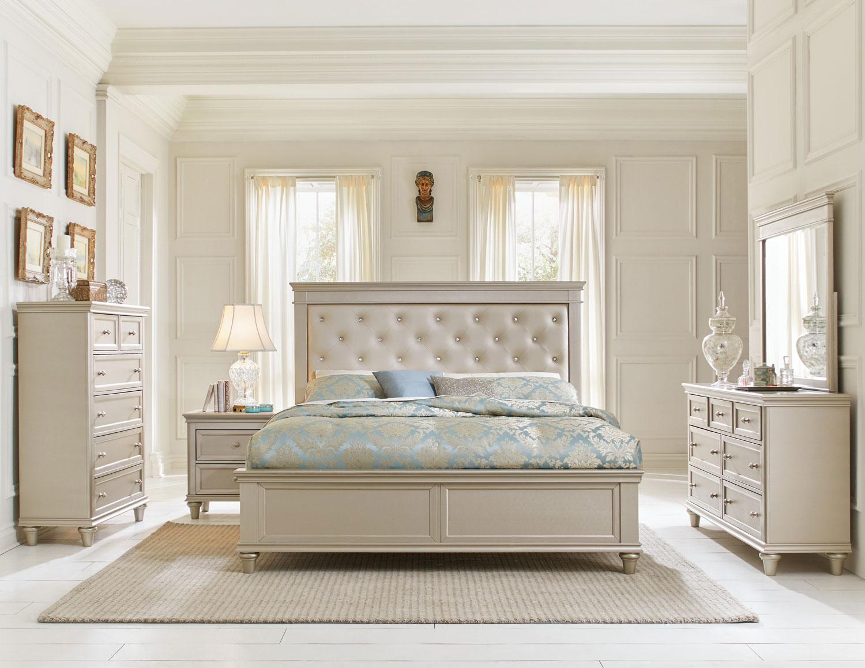 homelegance celandine upholstered bedroom set silver
