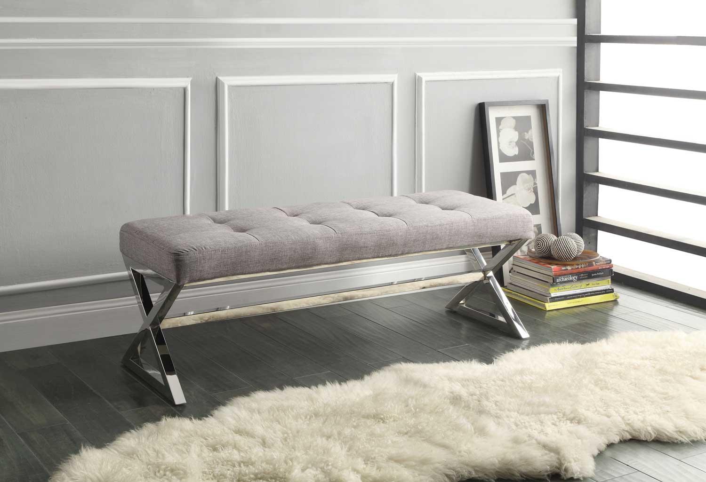 homelegance rory x base bench grey linen