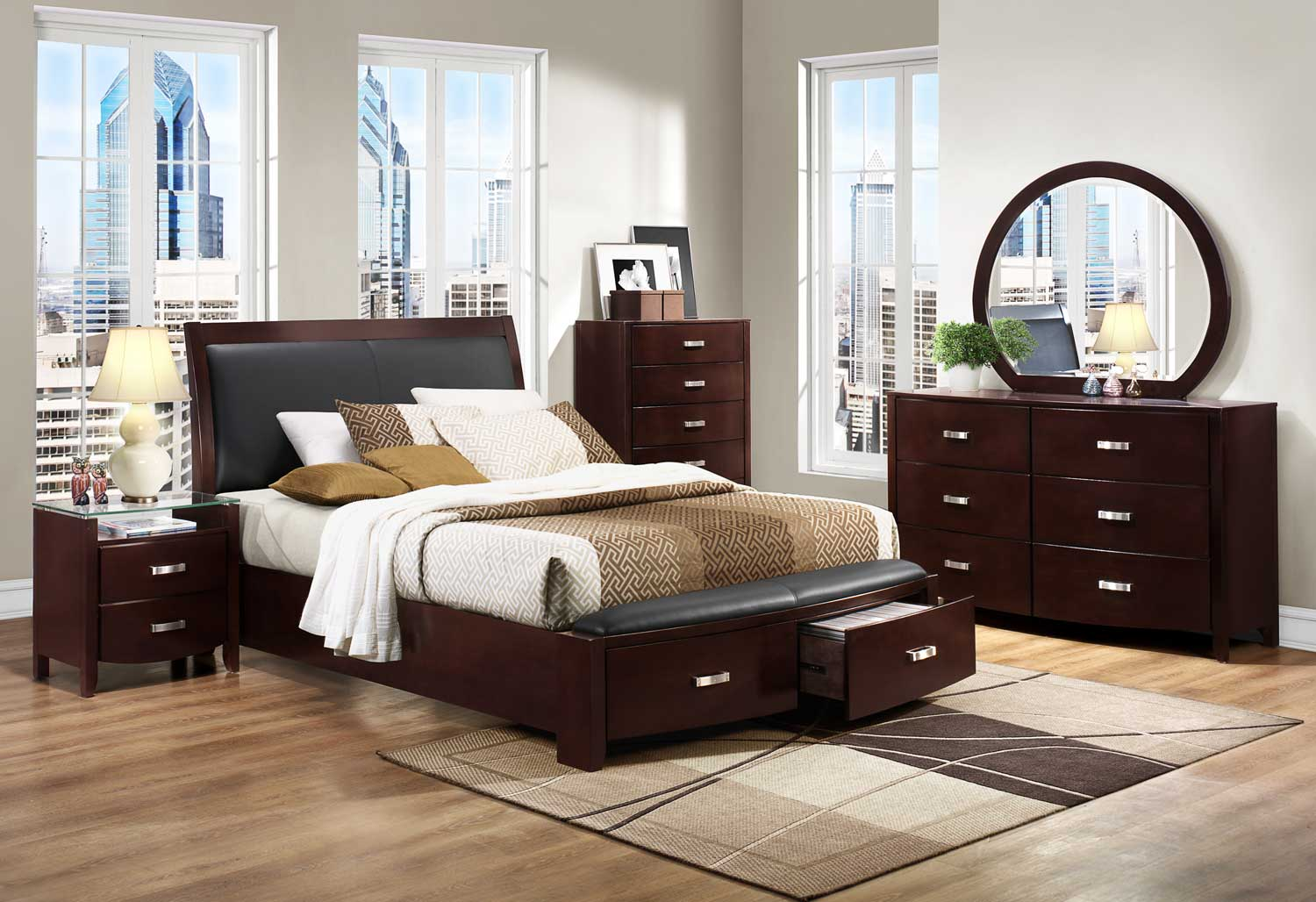 Homelegance Lyric Platform Bedroom Set Dark Espresso B1737nc Bed Set At Homelement Com