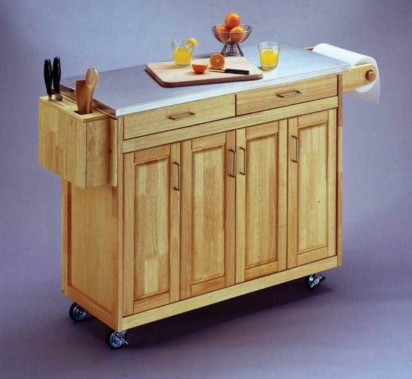 Home Styles Stainless Steel Top Kitchen Cart With Wood