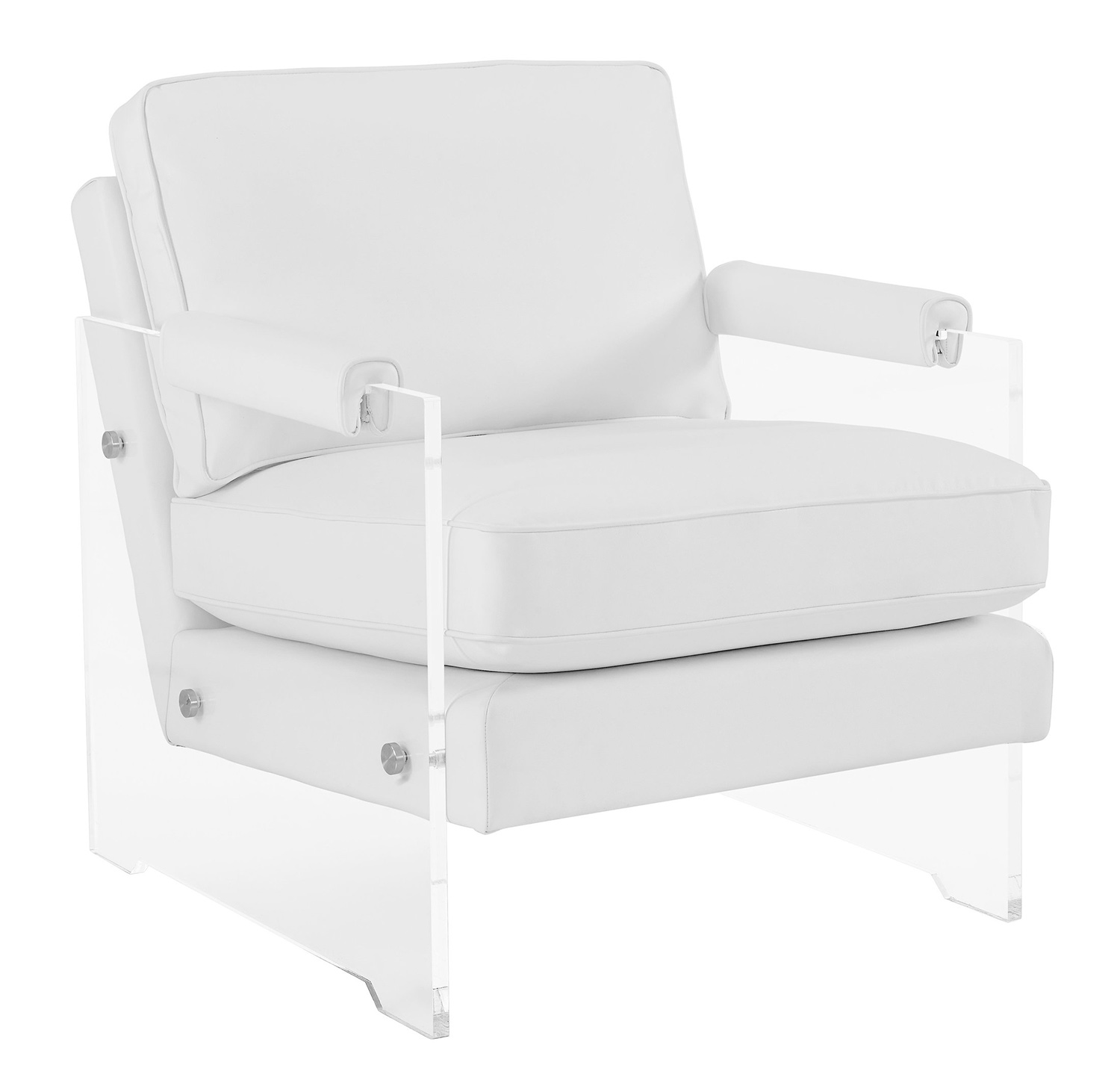 Lucite Chair Tov Furniture Serena Eco Leather Lucite Chair White