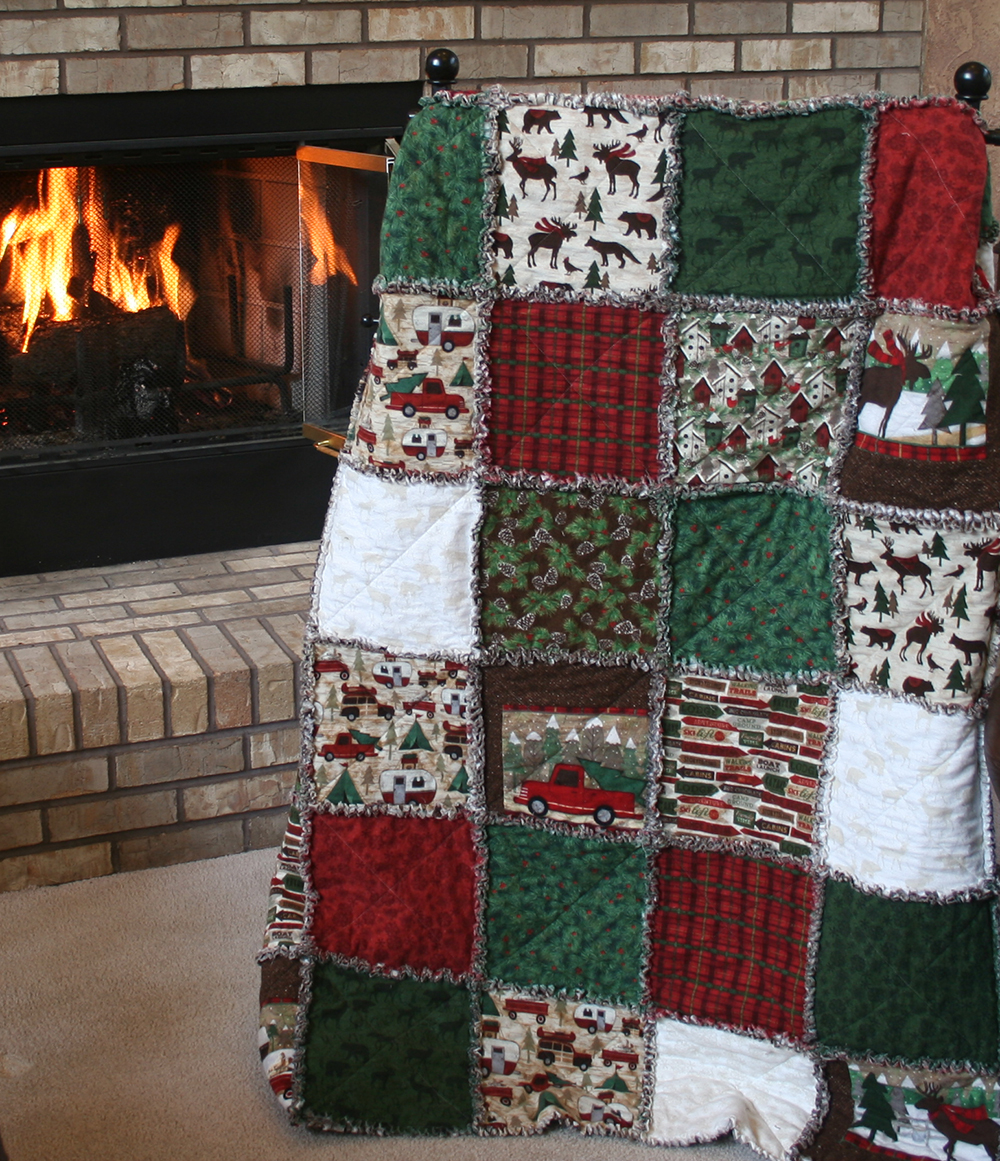 Exclusive Woodland Retreat Flannel Snuggler Rag Quilt Includes Backing By Homespun Hearth
