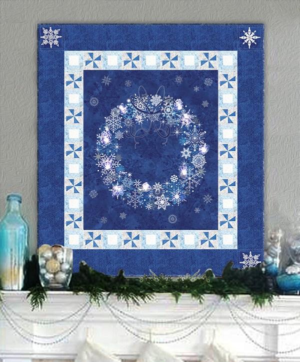 Midnight Blue & Twinkling Lights Christmas Wreath Wall