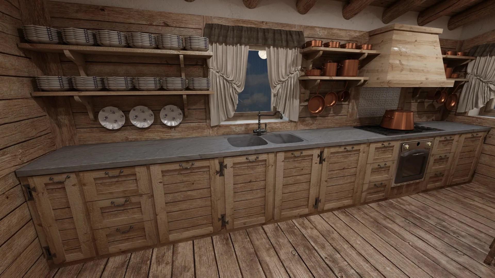 Cascina di montagna cucina in stile in stile rustico di