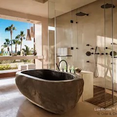 Freestanding Stone Bathtub River Stone Tub Tropical Bathroom By Luxhome Indonesia