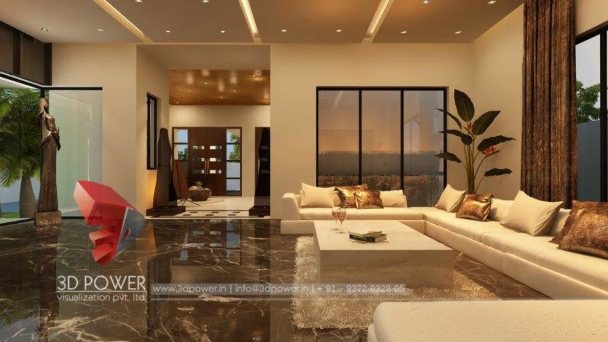 Living Room Luxury Bungalow Interior Design