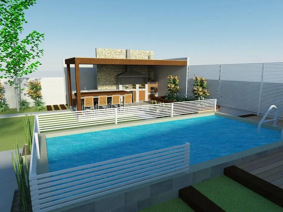 Piscina y quincho terrazas de estilo por dima
