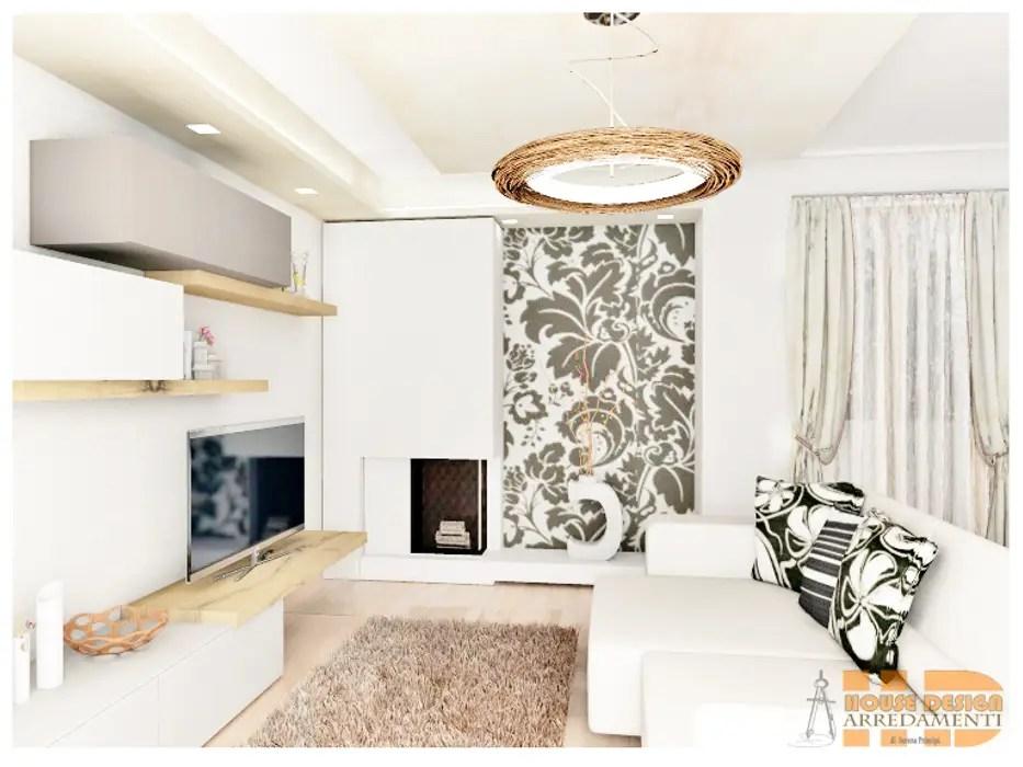 Particolare parete decorativa soggiorno con carta da