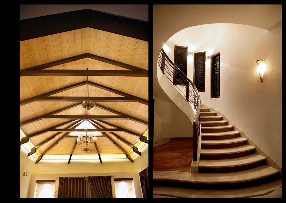 Stairs And False Ceiling By Myriadhues Classic Wood Wood Effect   False Ceiling Designs For Staircase   Simple   Interesting   Square   Entrance Lobby   Decor