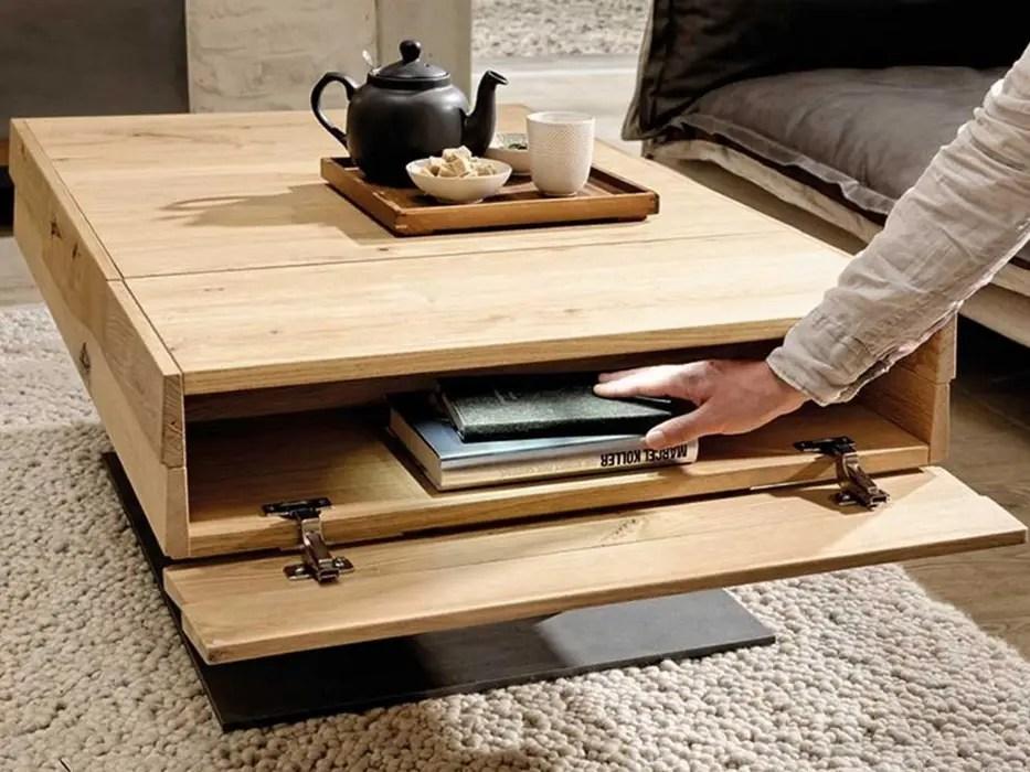 table basse en chene avec plateau