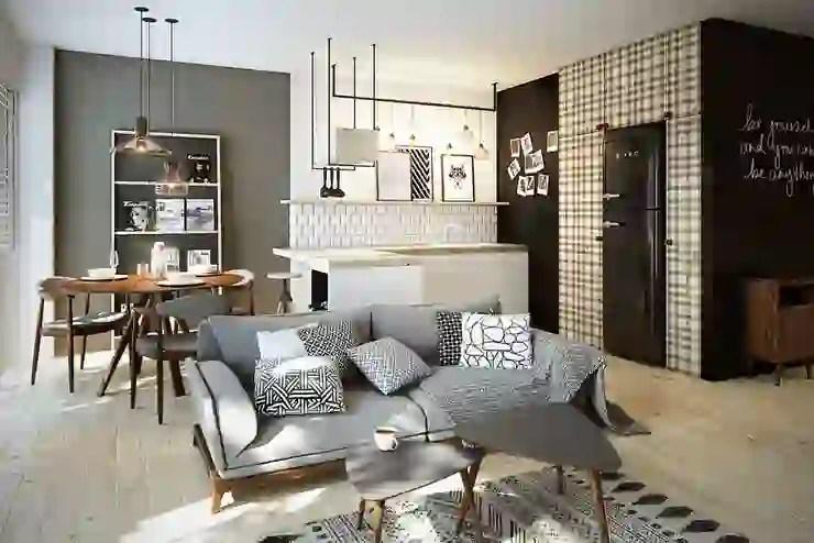 küche esszimmer wohnzimmer in einem kleinen raum