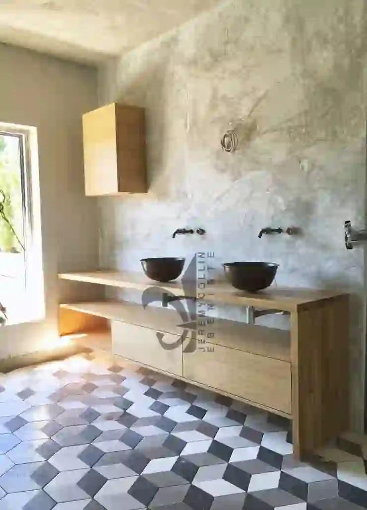 Meuble De Salle De Bain Sur Mesure En Chene Massif Et Vasques A Poser En Cuivre Homify