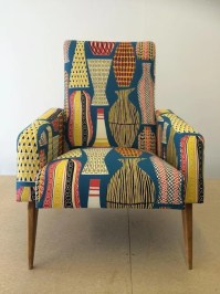Pair of Mid Century French club chairs reupholstered in ...