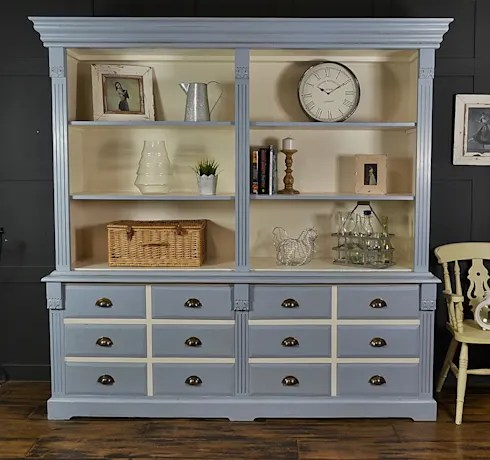 Large James Blue Farmhouse Kitchen Dresser with Drawer