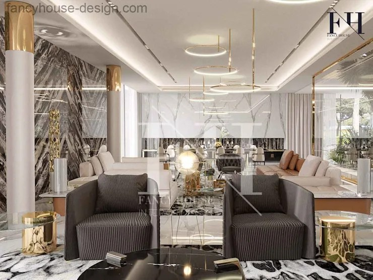 Modern villa interior design in Dubai UAE by Fancy House