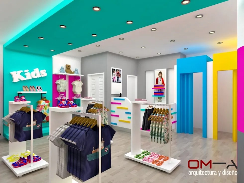 Diseo interior de tienda de ropa para nios tiendas y espacios comerciales de estilo por oma arquitectura y diseo  homify