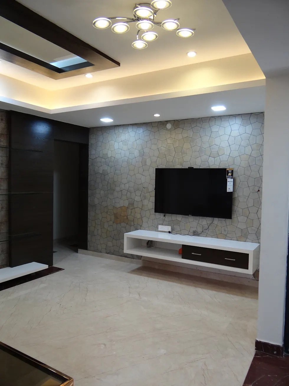 Tv wall cabinet with stone cladding background modern