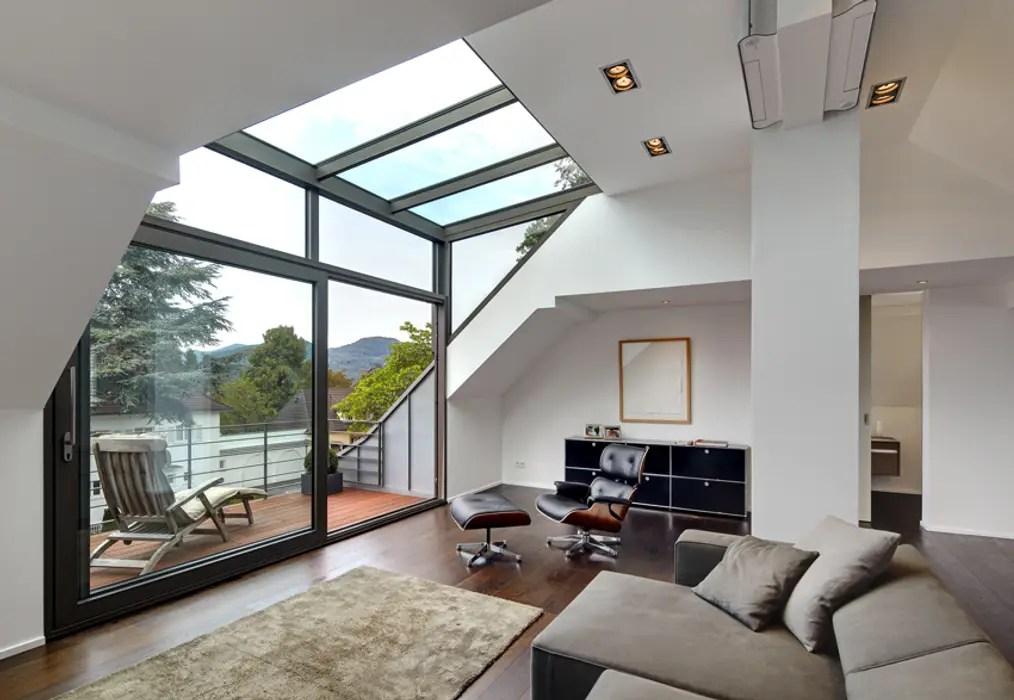 moderne Wohnzimmer Bilder Dachgeschoss mit Glasgaube  homify