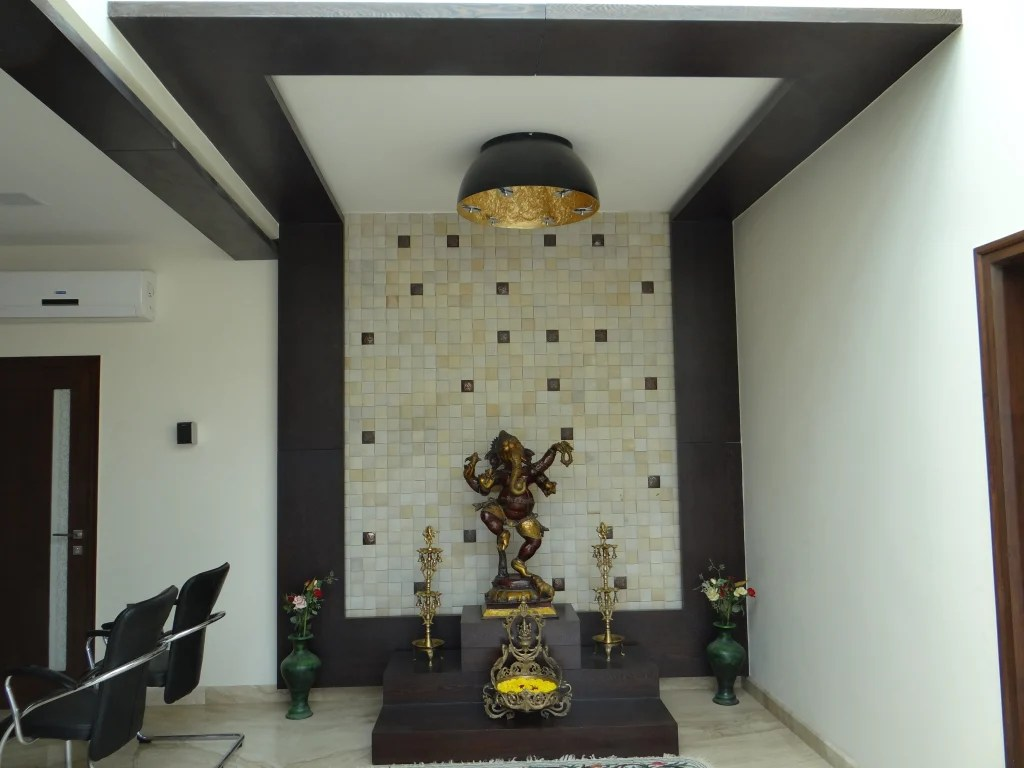 Simple bedroom design india archives pooja room and rangoli designs - Pure Pooja Room Design The Entrance Wall Modern Walls Floors By Hasta Architects