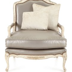 One And Half Chair With Ottoman High Back Covers Old Hickory Tannery Silver Leather Bergere &