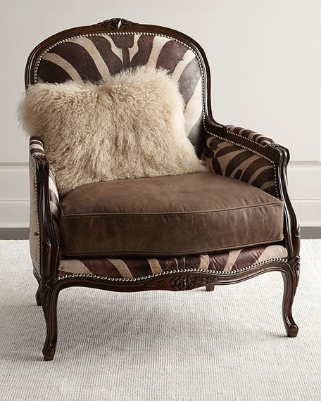 leather bergere chair and ottoman macau hanging jysk massoud titus zebra print