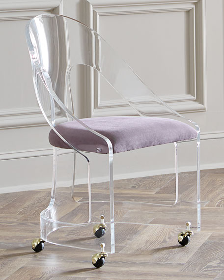 Interlude Home Mabel BrassTrimmed Acrylic Chair