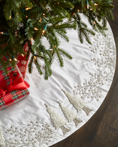 White Amp Silver Collection Tree Skirt