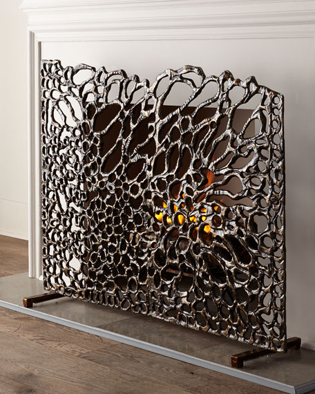 JohnRichard Collection Organic Bronze Fireplace Screen