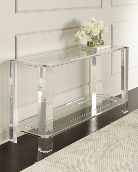 living room console tables mirrored walnut furniture interlude home landis acrylic table