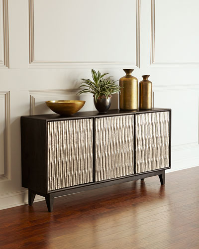 mirrored cabinets living room bright blue ideas chests at neiman marcus horchow shimmer three door entertainment console