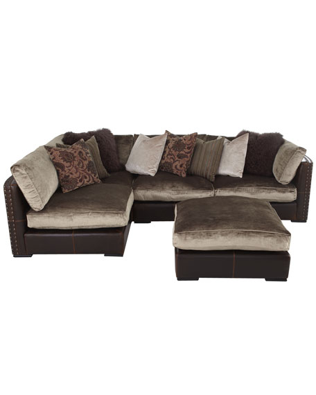 gold leather sofa set brown chenille bed & sectional sofa, five-piece