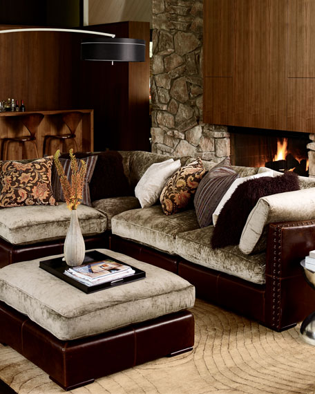 Chenille  Leather Sectional Sofa FivePiece Set