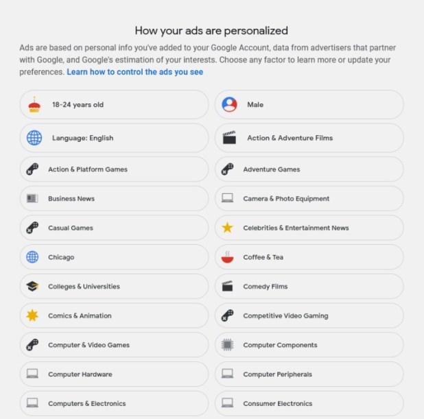 find out what Google knows about you through Google ad data