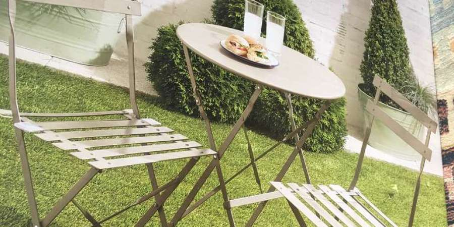Metal Garden Bistro Set 2 Chairs 60cm Round Table 20