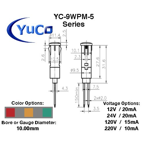 10 Yc-9wpm-5a-120-n-10 Yuco Ce Listed 9mm Compact Panel