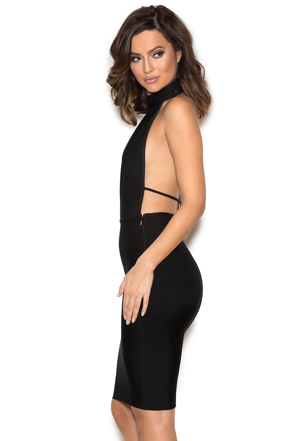 Clothing  Bandage Dresses  Eleni Black Low Back Halter Bandage Dress