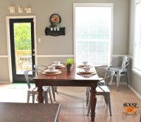 Chair rail in the family room and breakfast nook