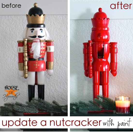 update holiday decor with spray paint