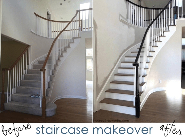 An Amazing Staircase Makeover From Carpet To Wood House Of | Cost To Have Stairs Carpeted | Wood | Stair Tread | Hardwood Flooring | Tile | Installation
