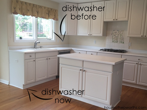 ikea kitchen remodel knife magnet creating a wrap around cabinet moving the dishwasher here s better before picture below of how we were living in our renovation as you can see had small wall behind sink