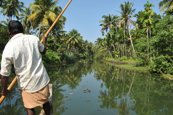 kerala backwaters canoe coconut trees india