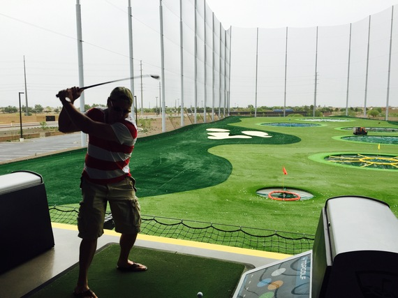 Teeing it off at TopGolf in Gilbert. (Photo credit: Scott Bridges)