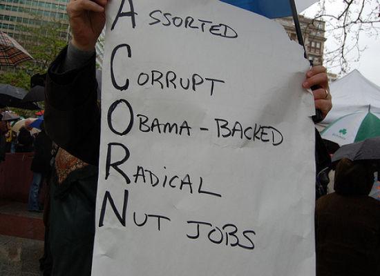 ACORN protest sign
