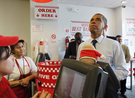 Image result for president obama at five guys