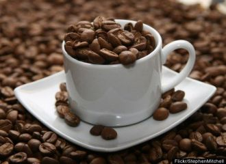 Picture of a cup of fair-trade coffee beans