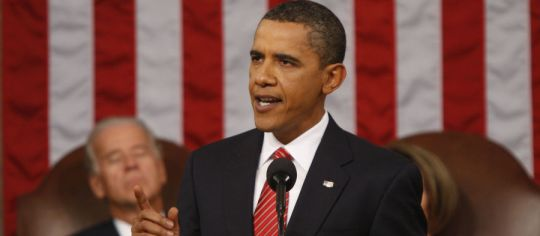Picture of President Obama standing before Congress on September 9, 2009 where he delivered his Health Care Speech.
