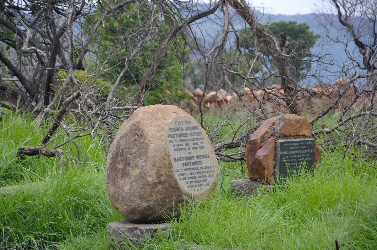 Headstone of Debora Jacoba Retief, daughter of Piet Retief, and her husband M. W. Pretorius, cousin of former South African Republic. They are buried in the Pelindaba area that has the Phaladingwe Hiking Trail