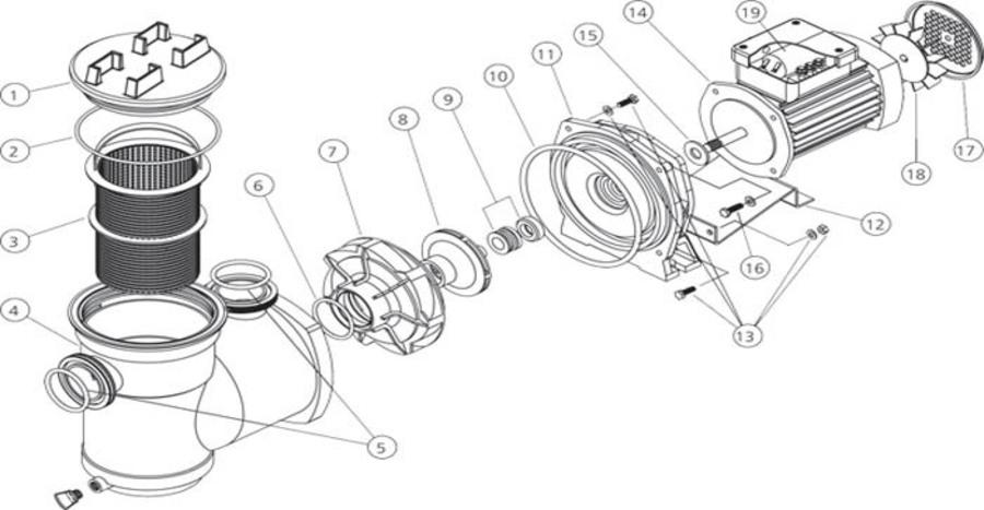 HydroAir Argonaut Circulation Basket Pump 1.10kW 3P