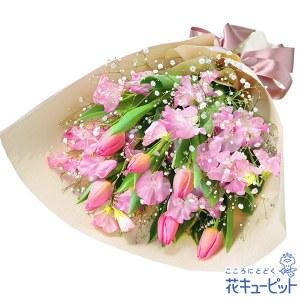 チューリップとスイートピーの花束(ピンク)