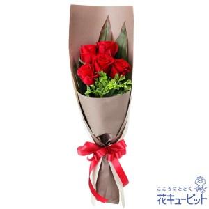 赤バラ5本の花束